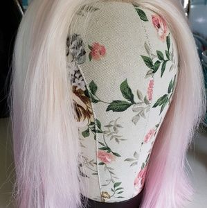 Platinum and pink synthetic wig